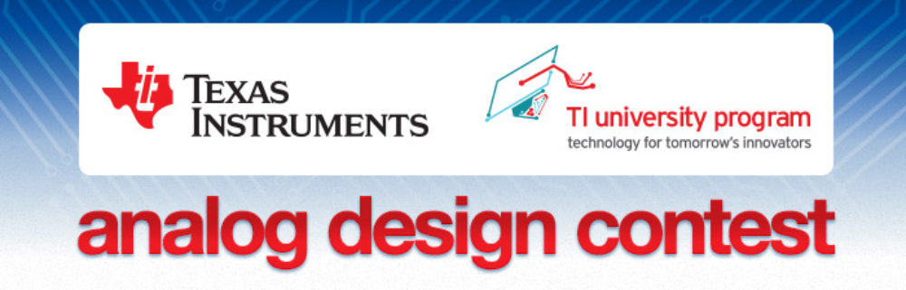First Runner Up in Texas Instruments Analog Design Contest